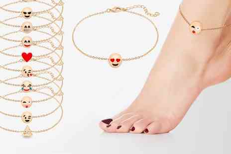 Groupon Goods Global GmbH - One, Three, Seven or Ten The Gemseller Gold Plated Emoji Anklets in Choice of Design - Save 94%