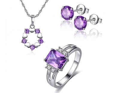 Your Ideal Gift - Created sapphire tri set choose from four UK ring sizes - Save 89%