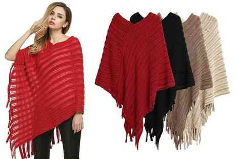 Boni Caro - Knitted poncho choose from four colours - Save 80%