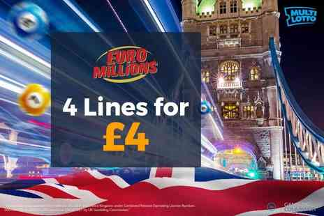 Multi Lotto - 4 EuroMillions lottery lines - Save 60%