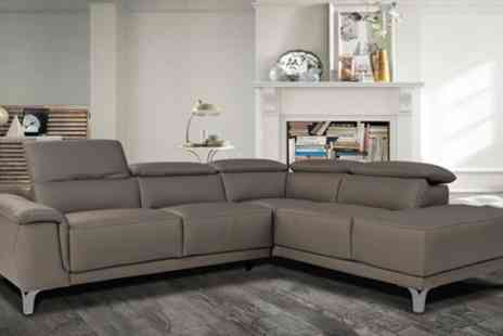 Groupon Goods Global GmbH - Alejandro Italian Leather Corner Sofa in White or Grey With Free Delivery - Save 0%