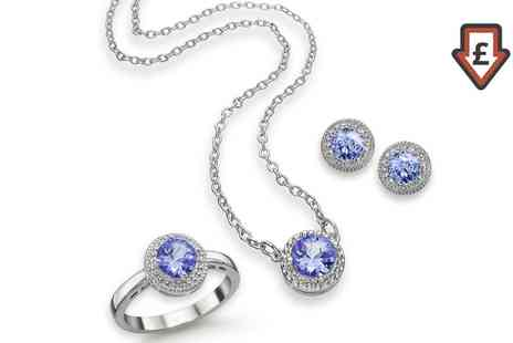 Groupon Goods Global GmbH - Genuine Tanzanite Earrings, Necklace, Ring or Set - Save 86%