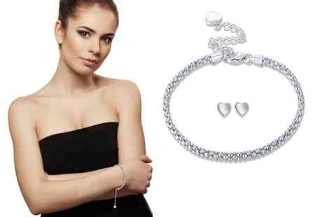 Groupon Goods Global GmbH - Sreema London Sterling Silver Popcorn Chain Bracelet with Studs - Save 63%