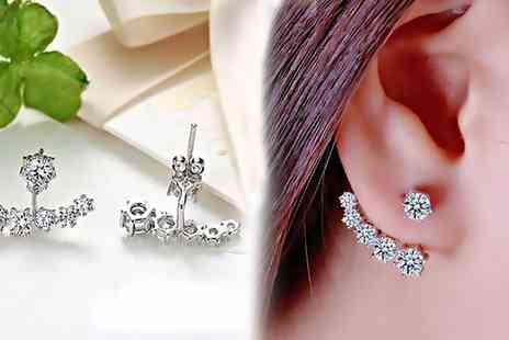 Groupon Goods Global GmbH - One or Two Pairs of Daisy Jacket Earrings with Crystals from Swarovski - Save 77%