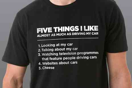 Groupon Goods Global GmbH - Five Things I Like as Much as Cars Mens Cotton Tshirt - Save 71%