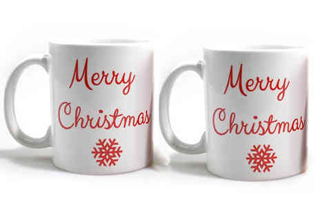 Enorh - Set of Two Christmas Mugs Available in Seven Designs - Save 68%