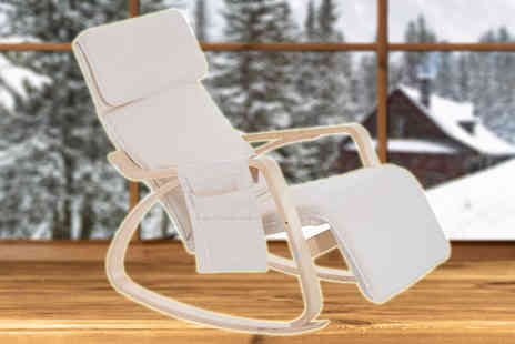 Mhstar - Beige Modern Rocking Chair with Adjustable Footrest And Side Pocket - Save 60%
