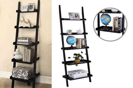 FDS Corporation - Black five tier wooden leaning ladder style shelving unit - Save 74%