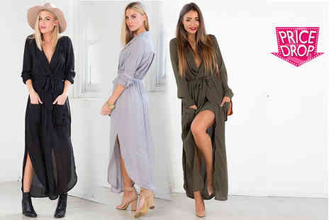 Boni Caro - Belted maxi shirt dress choose from two colours - Save 84%