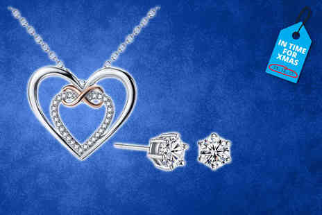 Your Ideal Gift - Infinity necklace made with crystals from swarovski optional earrings - Save 87%