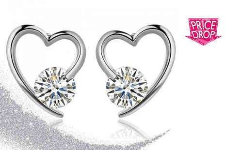 Your Ideal Gift - Pair of rhodium plated heart earrings - Save 85%
