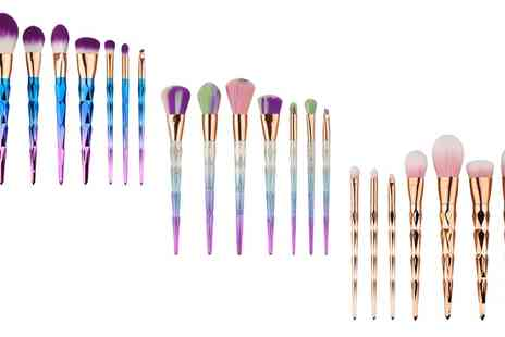 Groupon Goods Global GmbH - One, Two or Three Seven Piece Unicorn Makeup Brush Sets in Choice of Colour - Save 65%