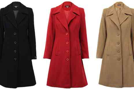 Groupon Goods Global GmbH - Womens Wool Cashmere Coat in Choice of Colour With Free Delivery - Save 0%