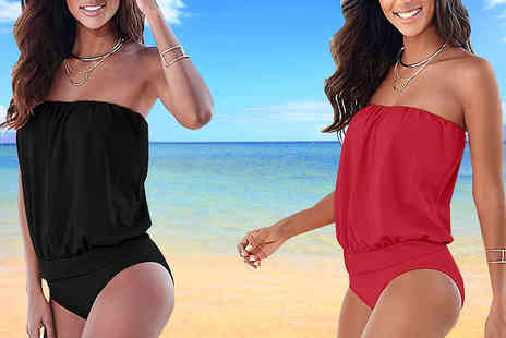 Graboom - Bandeau Swimsuit Available in Six Sizes - Save 77%