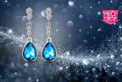 Your Ideal Gift - Blue crystal drop earrings - Save 85%