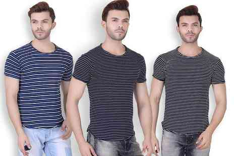 Bluebell Retail - Mens realm striped t shirt choose from three colours - Save 0%