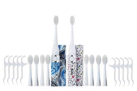 AMS Global - Set of two sonic toothbrushes with eight heads and 10 dental flossers - Save 0%