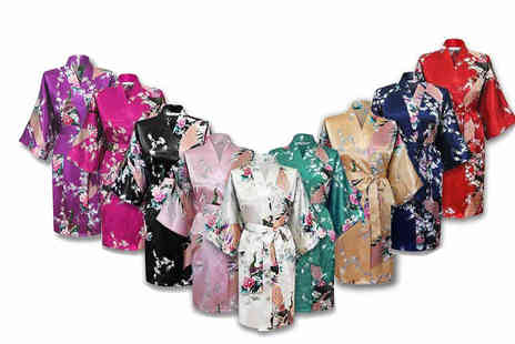 Who Runs the World - Japanese inspired silky kimono robe choose from nine colours - Save 78%