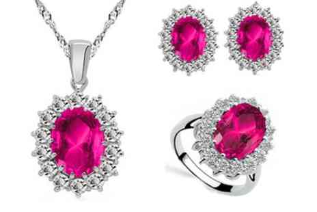 Groupon Goods Global GmbH - October Birthstone Necklace, Earrings and Ring Set - Save 80%