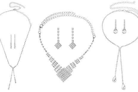 Groupon Goods Global GmbH - Diamante Necklace and Earrings Set in Choice of Style - Save 80%
