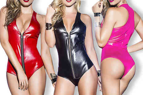 Trifolium Lingerie - Faux leather zip front one piece choose from three colours - Save 62%