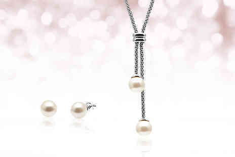 Lily Spencer London - Pearl lariat jewellery set choose from two colours - Save 84%