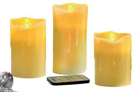 Groupon Goods Global GmbH - Set of Three Led Flameless Wax Candles with Remote Control - Save 72%