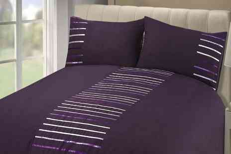 Groupon Goods Global GmbH - Rapport Home Manhattan Ribbon Stripe Duvet Cover Set in Choice of Colour - Save 69%