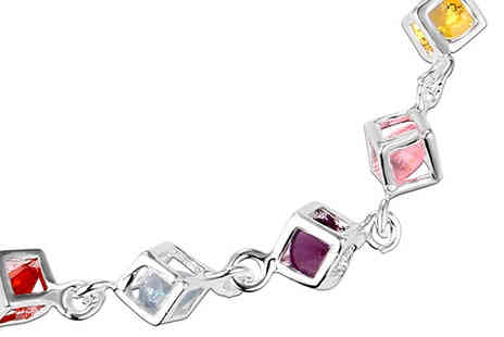 Bentleys Bargain Warehouse - Silver Plated Colourful Square Charm Bracelet - Save 72%