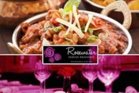 Rosewater Indian Brasserie - Three Course Indian Meal With Glass of Champagne for Two - Save 76%