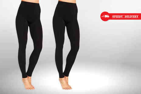 Nothing New 2 Wear - Two pairs of black thermal leggings - Save 78%