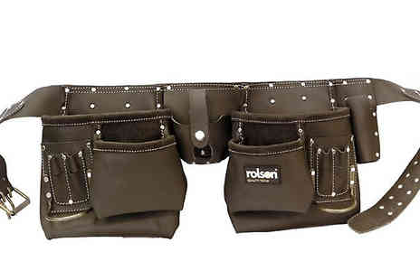 M&M Deals - Rolson 10 Pocket Professional Tanned Leather Tool Belt - Save 0%