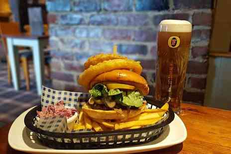 Malhotra Group PLC - Burger, fries and glass of wine or pint of beer for two people - Save 47%