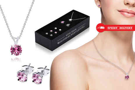 Lily Spencer - Set of three pendant necklaces with earrings made with crystals from Swarovski - Save 90%