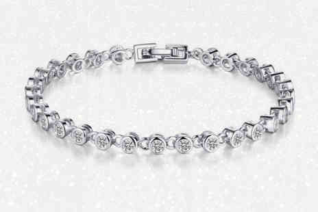 Your Ideal Gift - Lab created sapphire rhodium plated bracelet - Save 93%