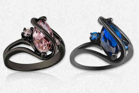 Your Ideal Gift - Marquis cut lab created sapphire black gold plated ring select from two colours - Save 88%