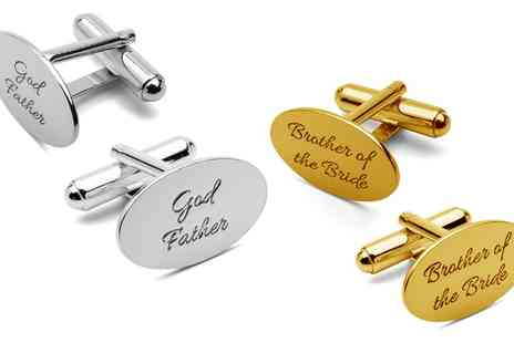 Jewells House - One, Two or Three Oval Cufflinks with Engrave With Free Delivery - Save 67%