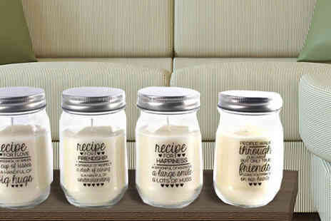 Direct 2 public - Set of Four Jam Jar Candles With Quotes - Save 78%