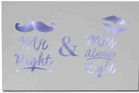 Direct 2 public - Mr and Mrs Right Led Wedding Anniversary Plaque - Save 83%