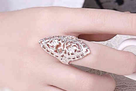 Romatco - Silver Tone Filigree Ring Available in Two Sizes - Save 68%