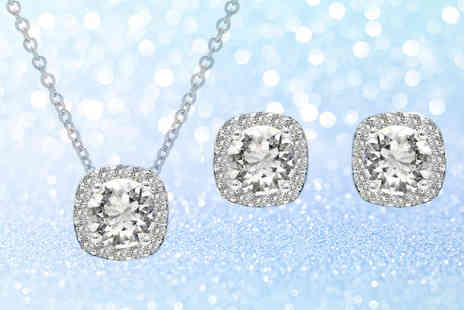 Lily Spencer - Cushion cut halo necklace and earrings set - Save 71%