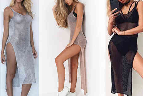 Verso Fashion - Metallic mesh beach cover-up dress choose from three colours - Save 64%