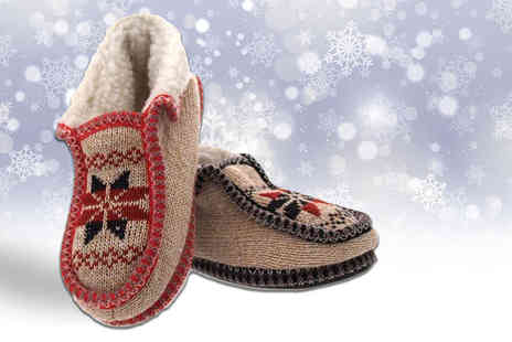 MY UL - Pair of norway knitted slippers choose from two colours - Save 60%