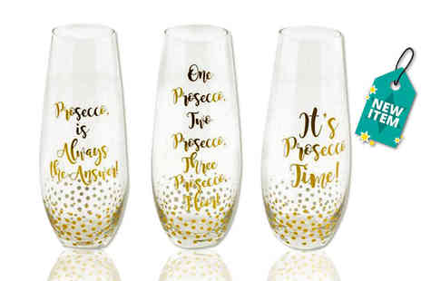 Direct 2 public - Three piece Prosecco stemless flute set - Save 70%