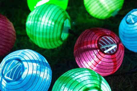 Black Sheep - 10 Solar Powered Chinese Lantern String Lights Choose 3 Colours - Save 57%