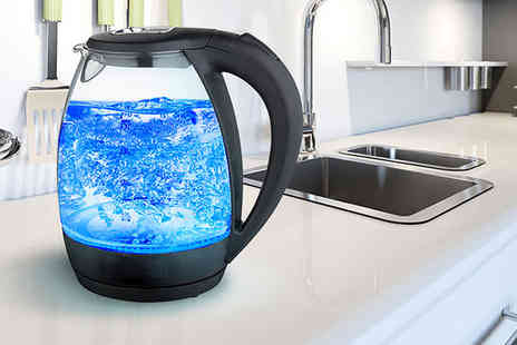 Home Empire - Blue LED glass kettle - Save 73%