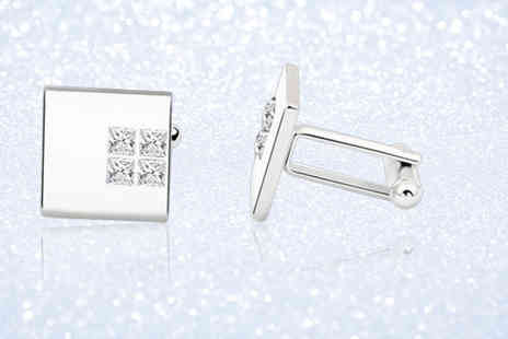 Your Ideal Gift - Pair of rhodium plated cufflinks - Save 92%