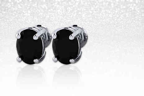 Buy Fine Diamonds - Pair of black crystal sterling silver stud earrings - Save 73%