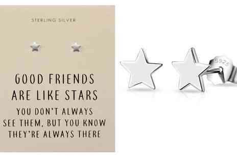 Groupon Goods Global GmbH - Philip Jones One or Two Pairs of Sterling Silver Star Quote Earrings - Save 80%