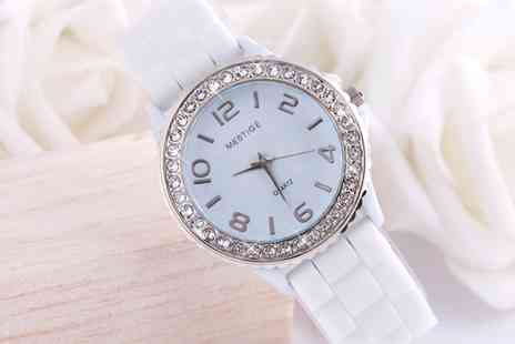 Neverland Sales - Womens Mestige Silicone Strap Watch with Crystals from Swarovski With Free Delivery - Save 82%